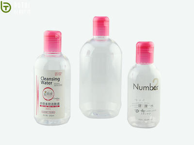 Customized 160ml 250ml 500ml round PET plastic bottle with flip cap for automatic products